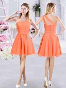 Nice Chiffon One Shoulder Sleeveless Zipper Ruching Wedding Guest Dresses in Orange
