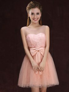 Scoop Sleeveless Tulle and Lace Mini Length Lace Up Wedding Party Dress in Peach with Lace and Bowknot