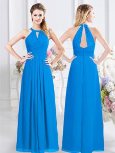 Trendy Halter Top Baby Blue Sleeveless Ruching Floor Length Bridesmaid Dress