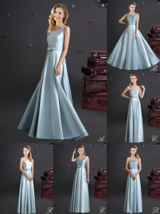 Square Sleeveless Elastic Woven Satin Floor Length Zipper Bridesmaid Gown in Light Blue with Bowknot