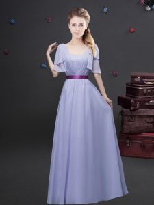 Square Lavender Short Sleeves Ruching and Belt Floor Length Bridesmaid Gown
