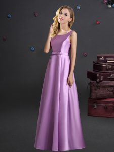 Deluxe Square Sleeveless Zipper Floor Length Bowknot Bridesmaid Dresses