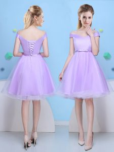 Pretty Lavender Lace Up Bridesmaid Dress Bowknot Cap Sleeves Knee Length