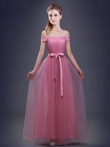 Exquisite Pink Wedding Guest Dresses Prom and Party and Wedding Party with Ruching and Bowknot Off The Shoulder Sleeveless Lace Up