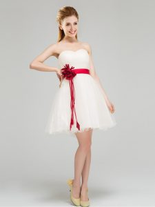 Hot Selling White Bridesmaids Dress Prom and Party and Wedding Party with Sashes ribbons and Hand Made Flower Sweetheart Sleeveless Zipper