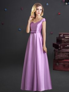 Lilac Zipper Off The Shoulder Bowknot Wedding Party Dress Elastic Woven Satin Cap Sleeves