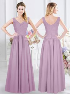Beauteous Lavender Wedding Guest Dresses Prom and Party and Wedding Party with Ruching Sleeveless Zipper