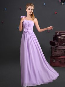 Adorable Lavender Empire One Shoulder Sleeveless Chiffon Floor Length Zipper Ruching and Hand Made Flower Bridesmaid Gown