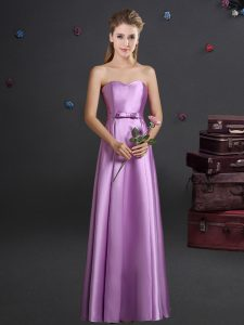 Lilac Sleeveless Bowknot Floor Length Wedding Party Dress
