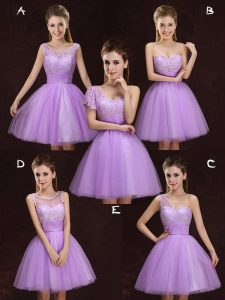 Excellent Lilac Lace Up Scoop Lace and Ruching Wedding Party Dress Tulle Sleeveless