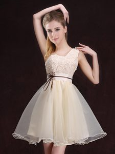 One Shoulder Champagne Organza Lace Up Bridesmaids Dress Sleeveless Mini Length Appliques and Belt
