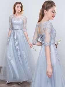Scoop Short Sleeves Half Sleeves Tulle Floor Length Lace Up Bridesmaid Dresses in Grey with Appliques and Belt