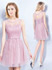 Designer Scoop Sleeveless Mini Length Appliques and Belt Lace Up Wedding Party Dress with Pink