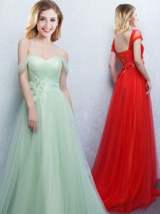 Off the Shoulder With Train Lace Up Bridesmaid Gown Apple Green for Prom and Party and Wedding Party with Appliques and Ruching Brush Train