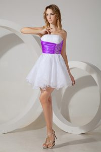 Strapless Sleeveless Wedding Party Dress Mini Length Beading White And Purple Organza