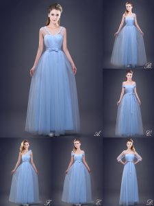 Nice Floor Length Light Blue Wedding Party Dress Sleeveless Lace Up