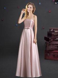Custom Fit Strapless Sleeveless Zipper Wedding Guest Dresses Pink Elastic Woven Satin