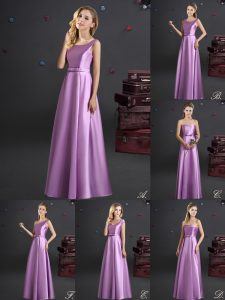 Cheap Lilac Empire Elastic Woven Satin Square Sleeveless Bowknot Floor Length Zipper Bridesmaid Gown