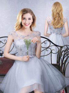 Dazzling Scoop Cap Sleeves Lace Up Bridesmaid Dresses Grey Tulle