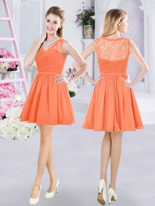 V-neck Sleeveless Side Zipper Bridesmaid Gown Orange Chiffon