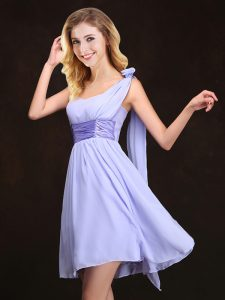 Lavender Wedding Party Dress Prom and Party and Wedding Party with Ruching and Hand Made Flower One Shoulder Sleeveless Zipper