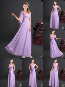 Sexy One Shoulder Lavender Zipper Wedding Party Dress Ruching and Bowknot and Hand Made Flower Sleeveless Floor Length
