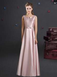 Fitting Straps Bowknot Wedding Guest Dresses Pink Zipper Sleeveless Floor Length