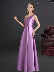 Stunning One Shoulder Sleeveless Zipper Wedding Party Dress Lilac Elastic Woven Satin