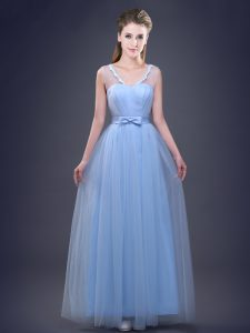 Sleeveless Tulle Floor Length Lace Up Bridesmaid Dress in Light Blue with Appliques and Ruching and Bowknot