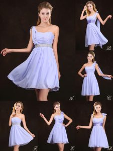 Attractive Sequins Lavender Sleeveless Chiffon Zipper Bridesmaids Dress for Prom and Party and Wedding Party
