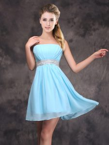 Baby Blue Empire Chiffon Strapless Sleeveless Sequins and Ruching Mini Length Zipper Bridesmaid Dress