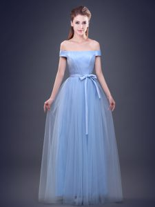 Empire Bridesmaids Dress Light Blue Off The Shoulder Tulle Sleeveless Floor Length Lace Up