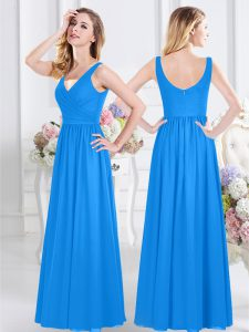 Baby Blue Bridesmaid Gown Prom and Party and Wedding Party with Ruching V-neck Sleeveless Zipper