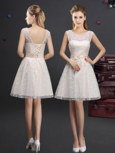 Nice Scoop Champagne Sleeveless Lace Lace Up Bridesmaid Dress for Prom and Party and Wedding Party