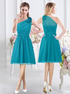 Delicate One Shoulder Chiffon Sleeveless Knee Length Bridesmaid Dresses and Ruffles and Ruching