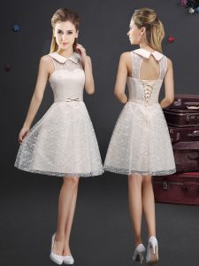 High Quality Champagne Lace Lace Up Wedding Guest Dresses Sleeveless Knee Length Lace and Appliques