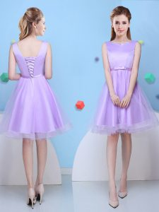 Scoop Sleeveless Tulle Knee Length Lace Up Bridesmaids Dress in Lavender with Bowknot