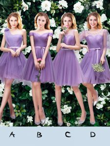 Classical Lavender Lace Up One Shoulder Beading and Appliques and Ruffles and Ruching and Belt and Hand Made Flower Bridesmaid Gown Tulle Sleeveless