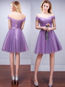 Shining Off the Shoulder Lavender Tulle Lace Up Bridesmaid Gown Sleeveless Knee Length Ruching and Belt