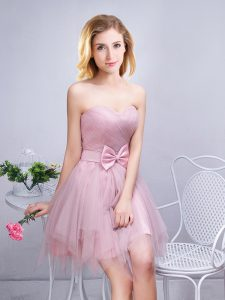 Sweetheart Sleeveless Tulle Bridesmaid Dress Ruching and Bowknot Lace Up