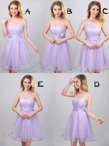 Off the Shoulder Lavender Lace Up Wedding Party Dress Lace and Appliques and Belt Sleeveless Mini Length