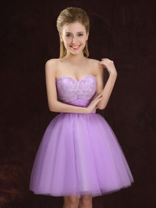 High Class Sweetheart Sleeveless Tulle Bridesmaid Dresses Lace and Ruching Lace Up