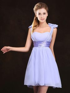 Straps Mini Length Zipper Bridesmaids Dress Lavender for Prom and Party and Wedding Party with Ruching and Bowknot