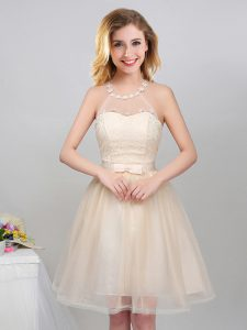 Elegant Halter Top Champagne Sleeveless Tulle Lace Up Wedding Guest Dresses for Prom and Party and Wedding Party