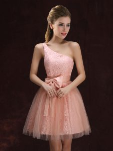 One Shoulder Sleeveless Lace Up Wedding Party Dress Peach Tulle and Lace