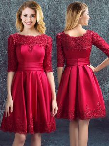 Clearance Wine Red Wedding Guest Dresses Prom and Party and Wedding Party with Lace Bateau Half Sleeves Zipper