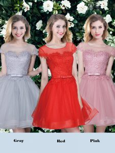 Hot Sale Red and Pink and Grey Scoop Lace Up Appliques and Belt Wedding Guest Dresses Short Sleeves
