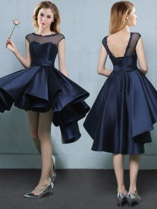 Luxury Navy Blue Bridesmaids Dress Prom and Party and Wedding Party with Appliques Bateau Cap Sleeves Lace Up