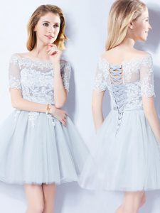 Great Tulle Off The Shoulder Short Sleeves Lace Up Lace Bridesmaid Dress in Light Blue