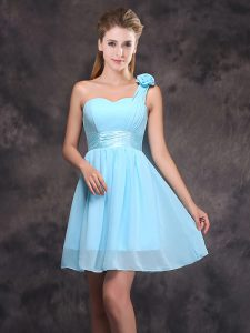 One Shoulder Baby Blue Chiffon Zipper Bridesmaids Dress Sleeveless Mini Length Ruching and Hand Made Flower
